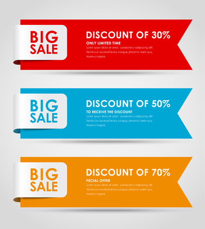 Ilustración de Set of colored horizontal banners for sale with a ribbon. Elements of infographics for posting information. Vector illustration - Imagen libre de derechos