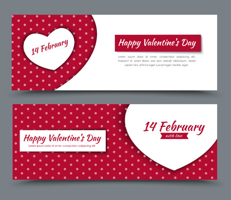 Illustration for The design of red and white banners with hearts and dots on a background of Valentine's Day. Vector illustration. Set. - Royalty Free Image