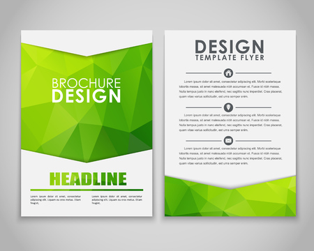 Illustration pour Design brochures (flyers) with polygonal green background. Vector illustration. - image libre de droit