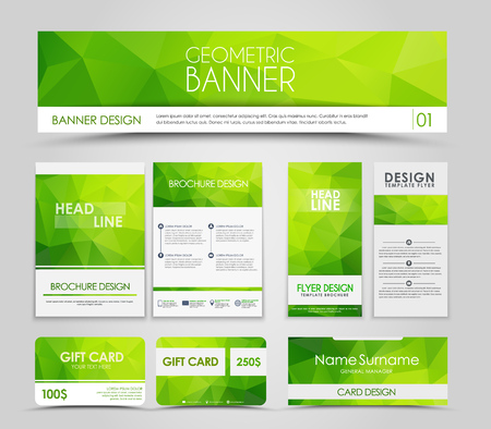 Illustration pour Design of  brochures and cards with green polygonal elements. Corporate Identity, Advertising printing. illustration. Set - image libre de droit