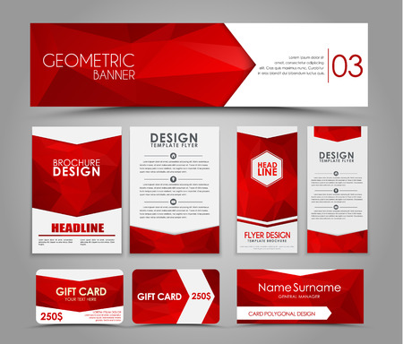 Design of  brochures and cards with red polygonal elements. Corporate Identity, Advertising printing. illustration. Set