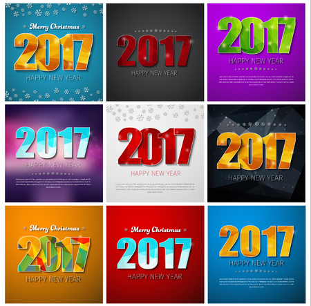 Set square banners Happy New Year 2017 and Christmas. Templates of different color backgrounds with abstract polygonal figures and snowflakes. Vector illustration