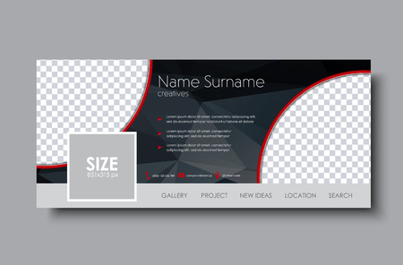 Illustration pour horizontal banner design for the social network. Template black with space for images and polygonal elements. Vector illustration. - image libre de droit
