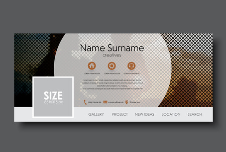 Illustration for Template banner for social network. Design with a mosaic on the background of a pair of running at sunset. Vector illustration. - Royalty Free Image
