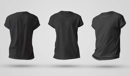 Photo pour Set of black men's t-shirts with shadows, front and back view templates. Mockup clothes on a white background and place for your design. - image libre de droit