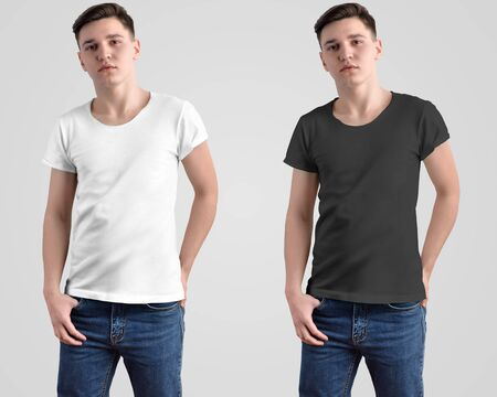Photo for Design mockup of a white and black t-shirt on a young guy. Front view in the studio. Template for presentation in the store and advertising clothing. - Royalty Free Image