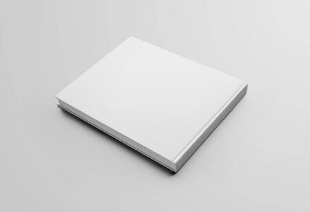 Photo for Mockup blank closed landscape orientation book, back view, isolated on a white background. Hardcover standard business catalog template for presentation of design and advertising in the online store - Royalty Free Image