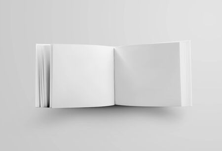 Photo pour Template of a white book landscape orientation, standing and open in the middle, a standard object for the presentation of design and pattern. Mockup hardcover business catalog isolated on background - image libre de droit