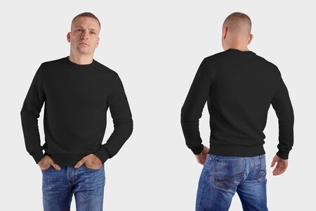 Photo pour Set of male clothes on a man in blue jeans, front, back, mockup of a black sweatshirt with realistic shadows, for the presentation of design and pattern. Template of heather isolated on background - image libre de droit