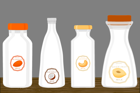 Illustration on theme big set different types chilled milk, dairy bottles various size. Milk beverage consisting of collection accessory dairy bottles to organic meal. Dairy milk from bottle off lid.