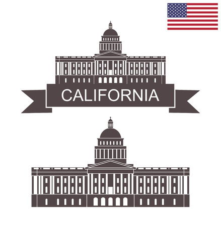 Illustration for State of California. Building of State Capitol in Sacramento California - Royalty Free Image