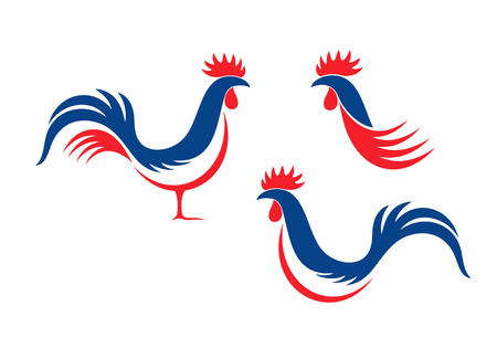 Illustration pour Happy Bastille Day, 14 July. Viva France National Day. French rooster. Isolated rooster on white background - image libre de droit