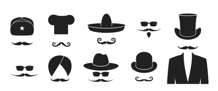 Illustration pour Mustache logo. Hat. Isolated mustache on white background. Beard - image libre de droit