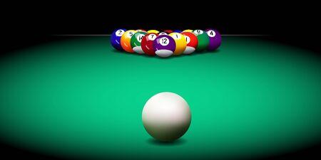 Illustration pour Realistic vector billiard balls on the green table - image libre de droit