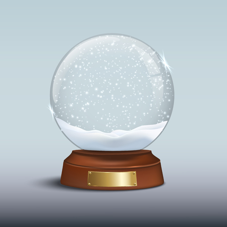 Illustration pour Vector Christmas design element. Snow globe with shiny snow and golden badge on brown wooden base. - image libre de droit