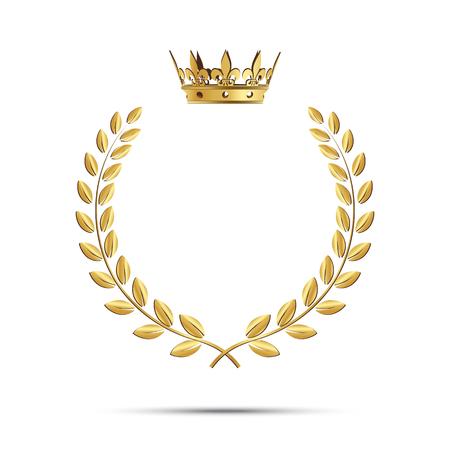 Ilustración de Isolated golden laurel wreath with crown. Vector illustration - Imagen libre de derechos
