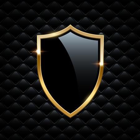 Ilustración de Black shield with golden frame isolated on VIP background. Vector luxury design element. - Imagen libre de derechos