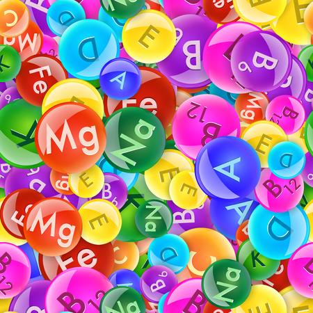 Illustration pour Colorful vitamin balls seamless pattern. Vector pharmacy illustration. - image libre de droit