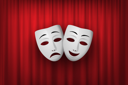 Illustration for Comedy and Tragedy theatrical mask isolated on a red curtain background. Vector illustration. - Royalty Free Image