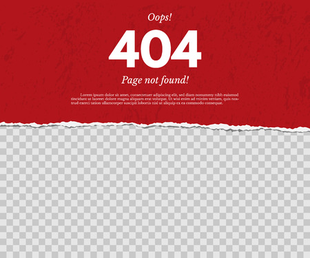 404 page not found concept. Red torn paper with text isolated on transparent background. Vector design element.