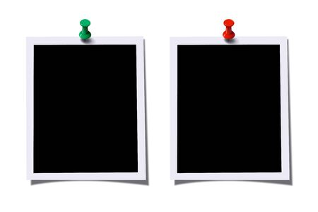 Illustration pour Photo frames with green and red pins isolated on white background. Vector design elements. - image libre de droit