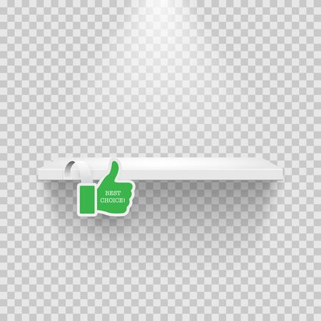 Illustration pour Shelf with green thumbs-up on transparent space - image libre de droit