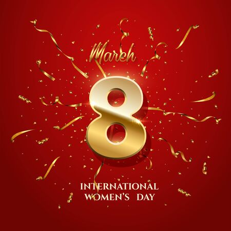Illustration pour Vector International Womens Day greeting card template. Number eight with sparkling gold ribbons and confetti on red background. 8 march luxury background. - image libre de droit