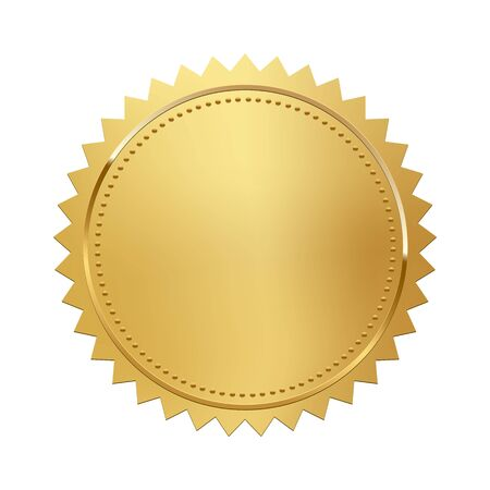 Illustration pour Golden stamp isolated on white background. Luxury seal. Vector design element. - image libre de droit