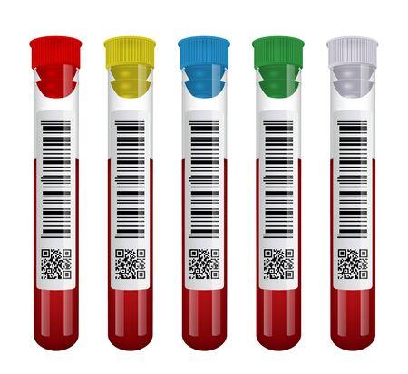 Medical blood test tube set isolated on white