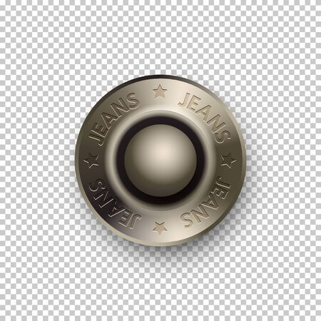 Illustration pour Vector 3D realistic silver metallic round button or rivets. Jeans with stars sign on metal button. Template mockup isolated on transparent background. Advertising and presentation vintage design element - image libre de droit