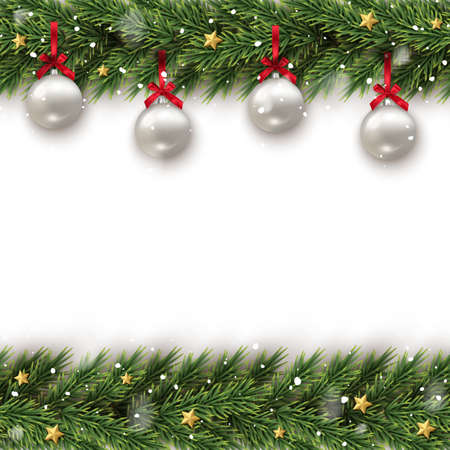 Illustration pour Fir tree branch decorated with toy frame template - image libre de droit