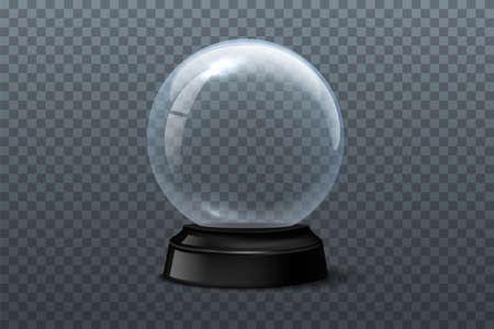 Illustration pour Snow globe template. Empty glass snow globe on transparent background. Vector Christmas and New Year design element. - image libre de droit