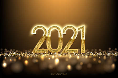 Illustration pour Happy new year banner vector template. Winter holiday, christmas congratulations. Festive postcard, luxurious greeting card concept. 2021 number with golden glitter illustration with text space. - image libre de droit