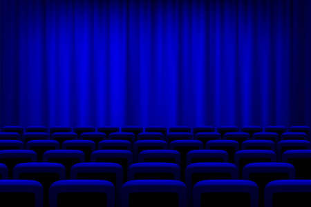 Illustration for Theater with blue curtains and seats background. Empty cinema auditorium vector illustration. Film or show presentation or performance event. Watching entertainment scene - Royalty Free Image
