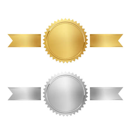 Illustration pour Golden and silver stamps with horizontal ribbons isolated on white background. Luxury chrome seals. Vector design elements. - image libre de droit