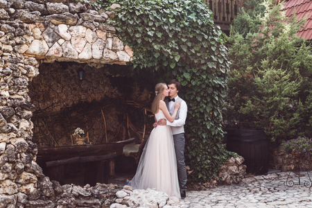 Bride and groom in a beautiful frame of ivy