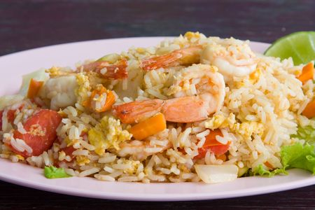 Fried rice with seafoodの写真素材