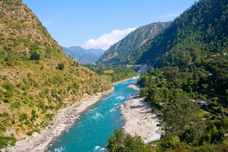 Ganges river in Himalayas mountains. Uttarakhand, India.