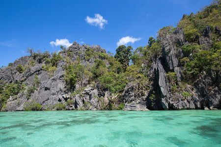 Wonderful lagoon in El Nido, Philippines . Rock and sea water