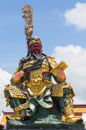 KOH SAMUI, THAILAND - MARCH 26, 2016 : Statue of Guan Yu in Samui. Shrine Guan yu is a Chinese god,who have red face god