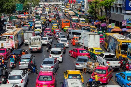 Photo for Bangkok, Thailand - jan 22, 2015: Traffic jam along a busy road in Bangkok, Thailand - Royalty Free Image