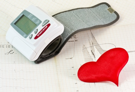 tonometer and the red heart on the background of an electrocardiogram