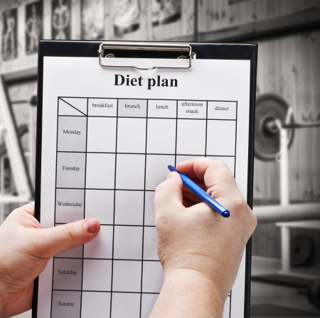 draw up a diet plan on the background of gym equipment