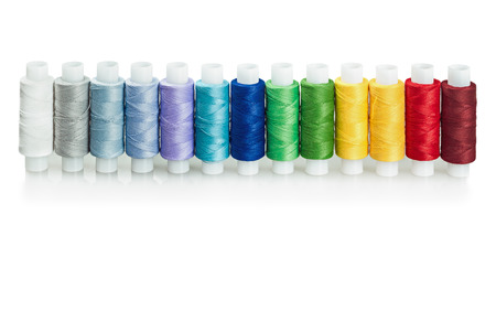 multicolored threads isolated on a white background