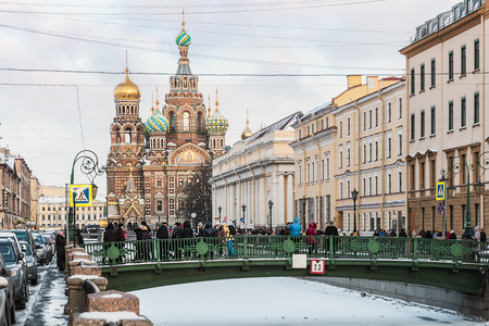 St. Petersburg, Russia - January 5, 2015: Church of Savior on Spilled Blood (1907) is one of the main sights of St. Petersburg. Russia, winter, dawn.