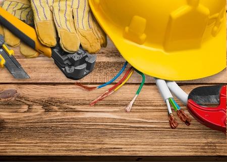 Photo pour Electrician, Work Tool, Power Cable. - image libre de droit