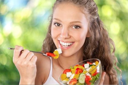 Photo pour Eating, Women, Healthy Eating. - image libre de droit