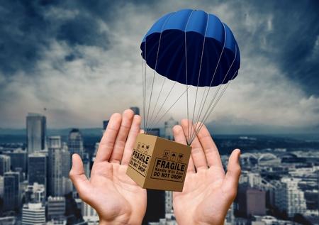 Parachute, Package, Box.