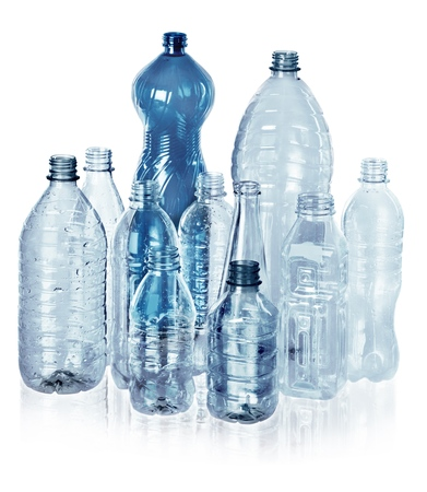 Photo for Various Kinds of Empty Water Bottles - Isolated - Royalty Free Image