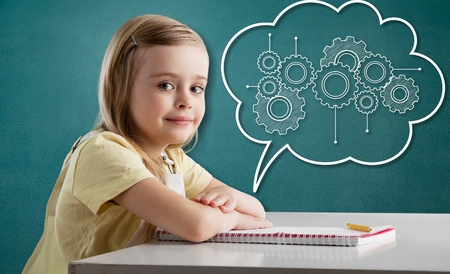 Happy healthy smart girl child kid raising engineering gears mind mapping in brain cloud icon graphic doodle on green chalkboard background: World mental health day awareness campaign idea concept: